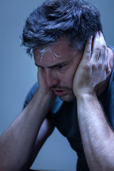 Man suffering from nervous breakdown