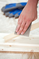 Carpenter's hand during work