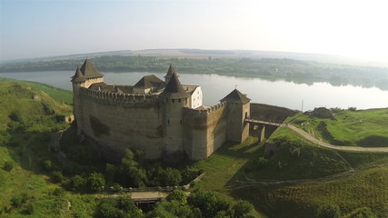 Panorama of old fortress near  river Aerial shot
