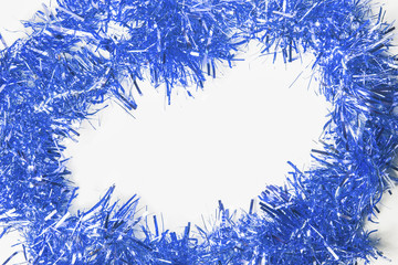 Festive background with blue garland to insert text.