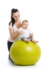 gymnastics for baby on fitness ball