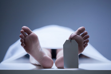 Close-up of human feet in morgue