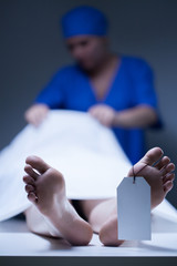 Nurse during working in mortuary