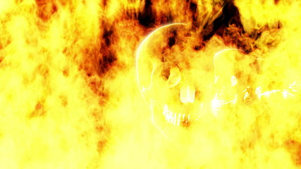 Flaming Skulls Version two Looping Halloween Background
