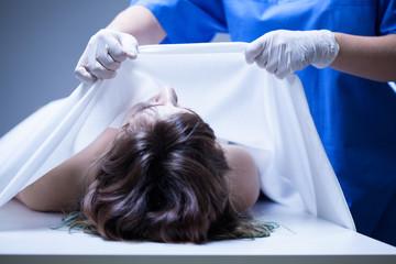 Covering female body in mortuary