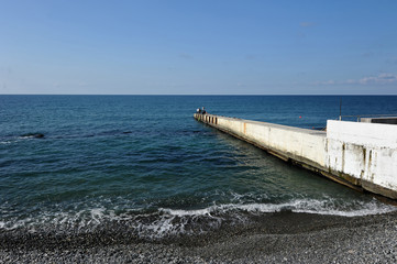 the pebble black sea coast in Sochi, Russia