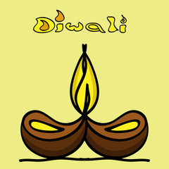 Artistic diwali diya art colorful creative vector design