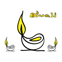Vector Illustration of artistic Diwali diya card design vector