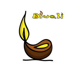Diwali diya stylish colorful creative on white background