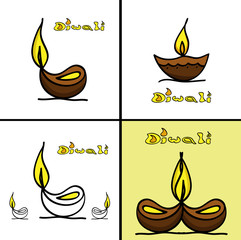 Diwali collection greeting design art vector