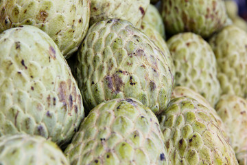 stack of custard apple in market background
