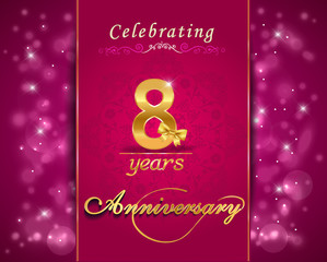 8 year anniversary celebration sparkling card, 8th anniversary