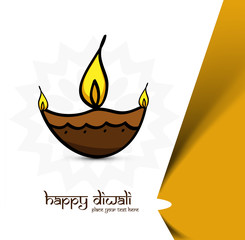 Artistic diwali diya art colorful background illustration vector