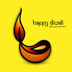 Beautiful artistic happy diwali colorful art diya for hindu fest