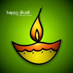 Artistic Beautiful happy diwali colorful art diya for hindu fest