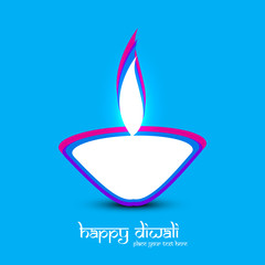 Diwali diya art blue colorful card creative vector design