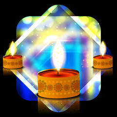 Vector bright colorful glowing diwali shiny diya background illu