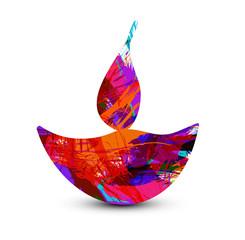 Happy diwali diya artistic colorful creative design vector