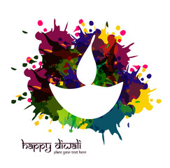 vector artistic happy diwali diya colorful for indian festival d