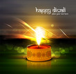 Beautiful glowing Diwali Diya Oil Lamp indian festival colorful