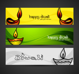 Beautiful religious colorful happy diwali glowing headers set de