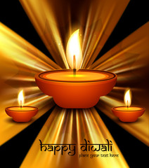 Beautiful stylish swirl colorful wave diwali festival background