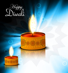 Artistic blue color background for happy diwali festival diya re