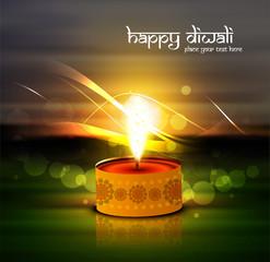 Beautiful glowing Diwali Diya Oil Lamp indian festival colorful