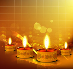 Vector glowing Diwali Diya Oil Lamp celebration colorful backgro