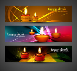 happy diwali stylish bright colorful set of headers design vecto
