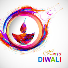 Happy diwali diya card artistic grunge colorful creative design