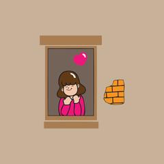 Girl at windows love