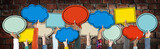 Fototapety Diverse Hands Holding Colorful Speech Bubbles
