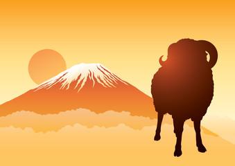 富士山 羊 ヨコ シルエット