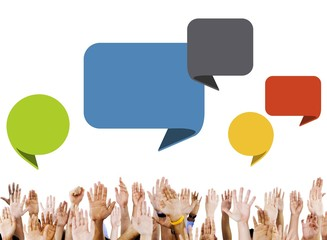 Group of Hands with Speech Bubbles