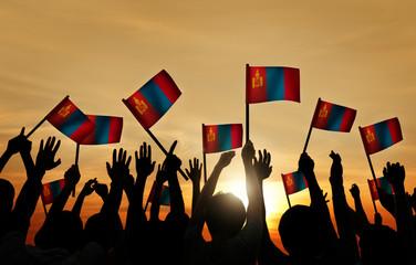 Group of People Waving Mongolian Flags Back Lit