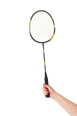 Hand with badminton racket