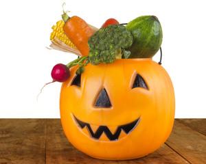 Healthy Halloween plastic Pumpkin full of Vegetables