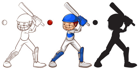 Sketches of a man playing baseball