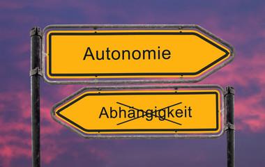 Strassenschild 22 - Autonomie