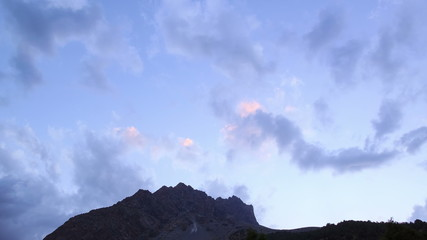 Sunset in the mountains. Pamir, Tazhikistan. Time Lapse. 4K