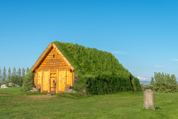 Traditional turf house in Skalholt, Iceland.