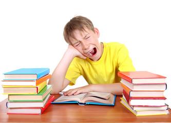 Tired Schoolboy yawning