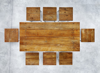 Wooden Conference Table and Chairs in Industrial Building