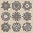 Circle lace ornament, round ornamental geometric doily pattern c