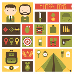 Military and war icons set. Army infographic design elements.