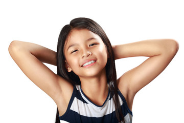 Closeup happy and beautiful little asian girl