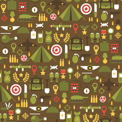 Seamless pattern of flat colorful  military and war icons set.