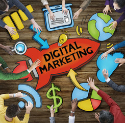 Group of People Around Word Digital Marketing