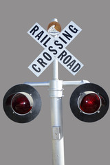 isolated railroad crossing sign
